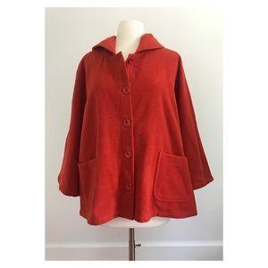 NEW!Eileen Fisher Vermillion wool Melton hooded CT